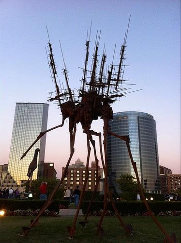"Surreal sculpture ""Possess"" by Jason Graham slouching toward Grand Rapids, MI #ArtPrize #iPhoneography"