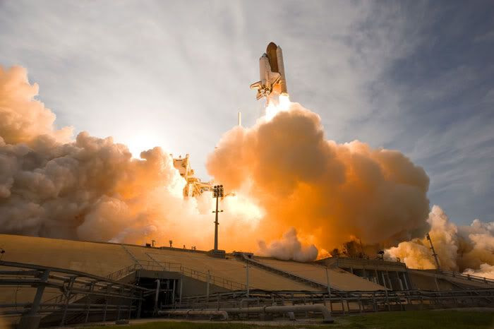 After 5 previous launch attempts since early June, space shuttle Endeavour finally lifts off from Florida's Kennedy Space Center on July 15, 2009.