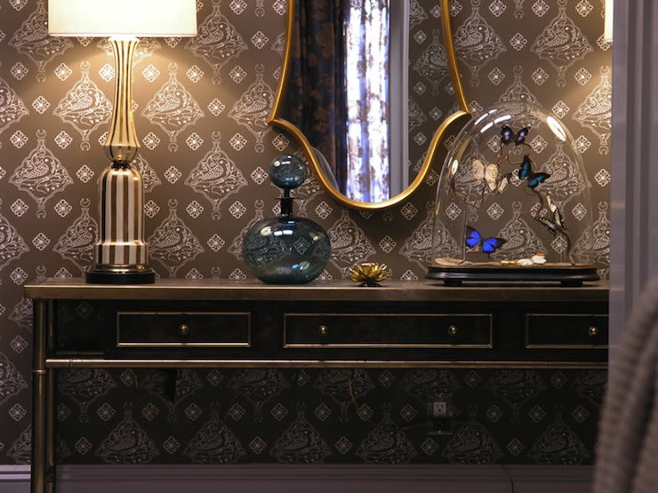 Suzie: Marks & Frantz - SATC foyer with taupe wallpaper, gold faux bamboo console table, ...