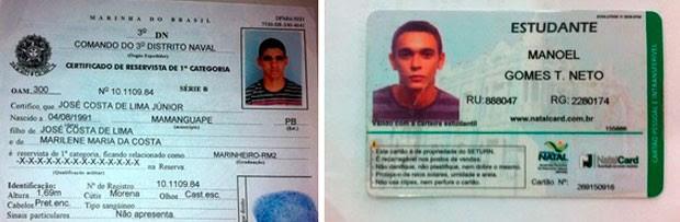Manoel Gomes Teixeira Neto, de 20 anos, e José Costa de Lima Júnior, de 21 anos (Foto: Reprodução/Matheus Magalhães/G1)