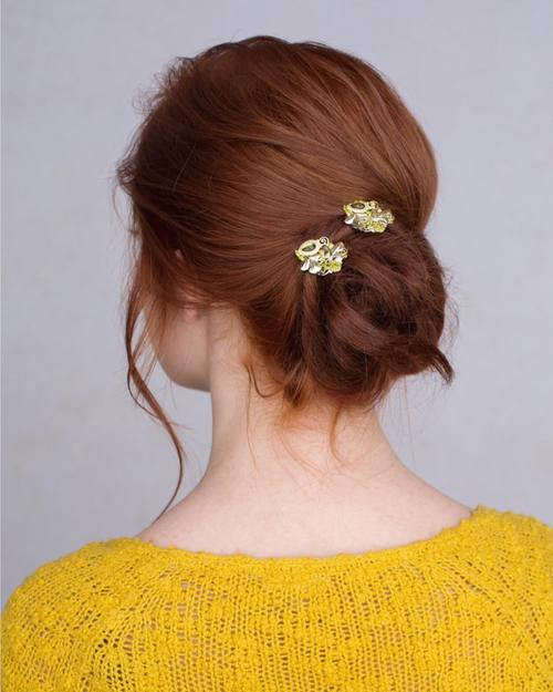 Low Twisted Messy Bun Updo