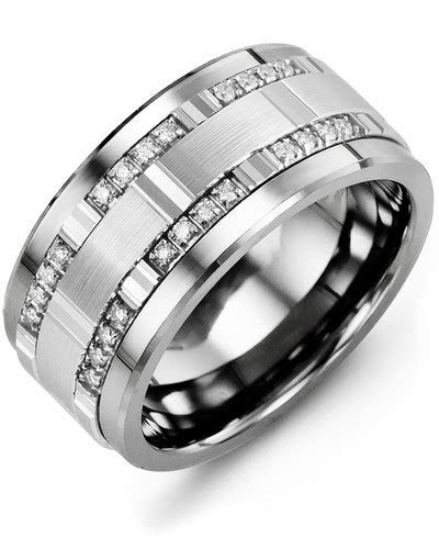 Men's Square Pattern Wide Diamond Wedding Ring   MADANI Rings