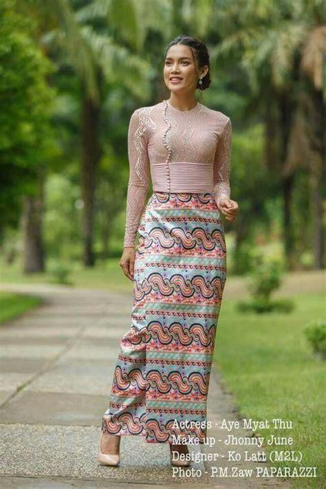 104  Myanmar Burmese traditional Lace Dresses   Fashion 2D