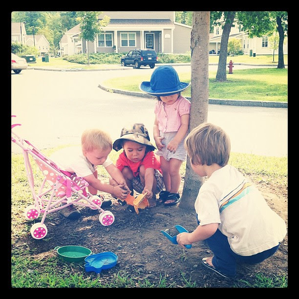 Playdate w/ the neighbors. One of the few moments when they weren't stealing each others' toys...