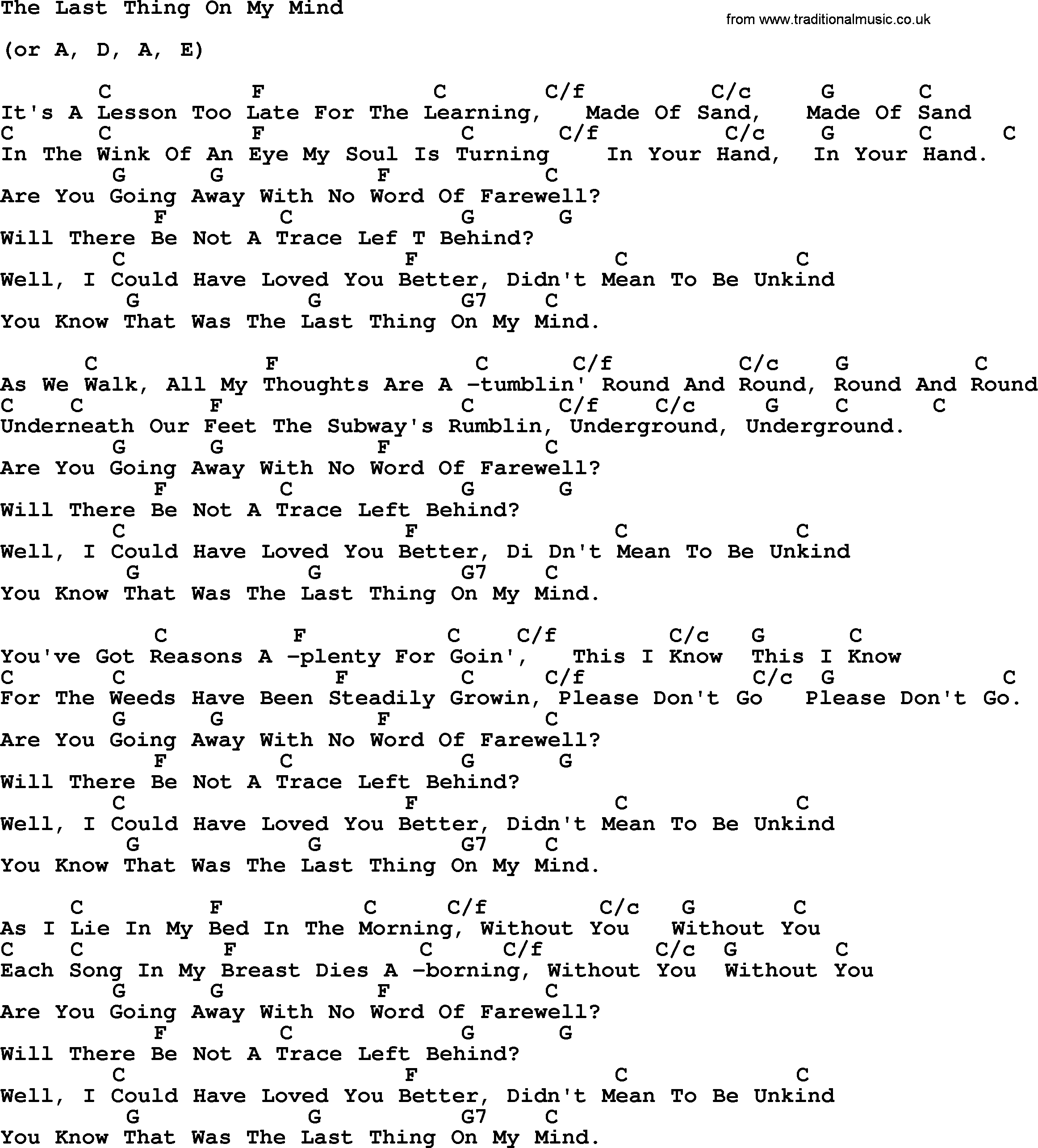 Peter Paul And Mary Song The Last Thing On My Mind Lyrics And Chords