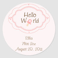 Birth announcement Cupcake Toppers/Stickers