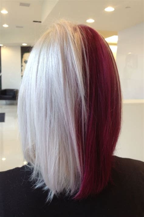 hair red  white goldwell color blood red hair split dyed hair
