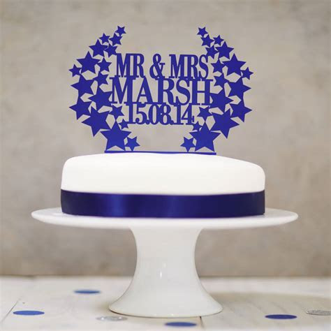 personalised star wreath wedding cake topper by sophia