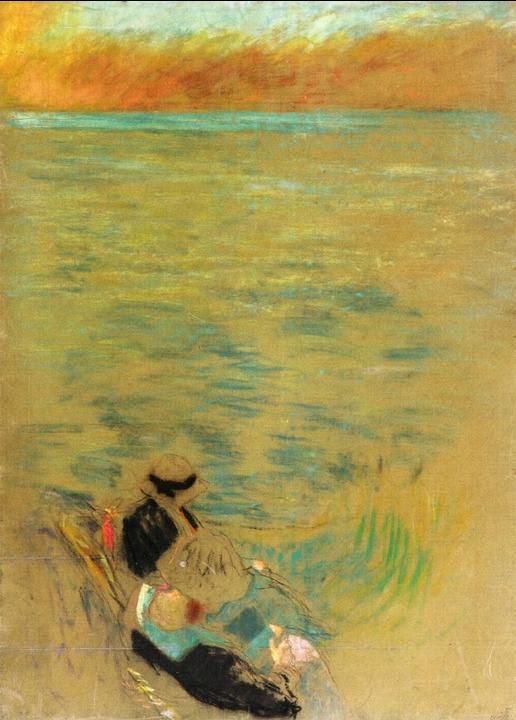 cavetocanvas:  Edouard Vuillard, Sea at Sunset, Woman on the Shore, c. 1914