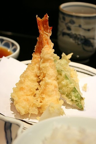 Tempura - shrimp, okra, lotus root