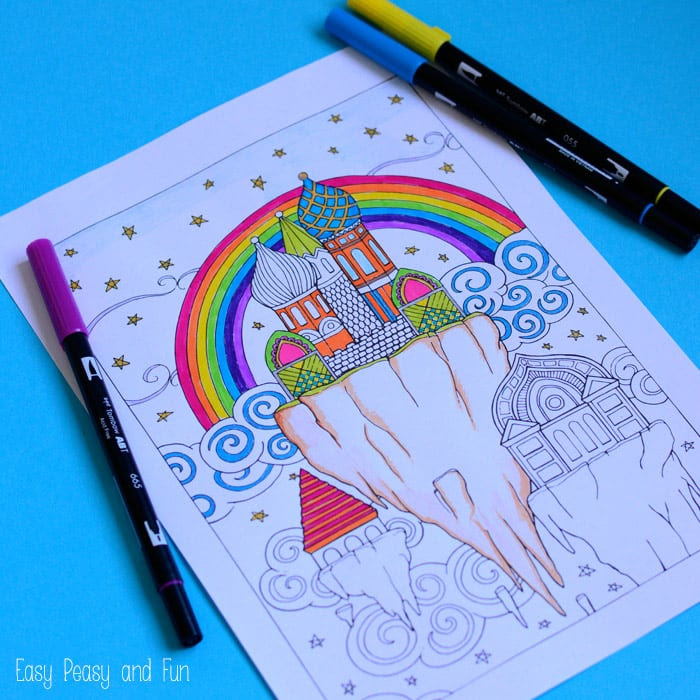 Free Dream City Coloring Page for Adults