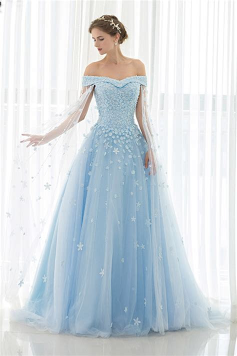 Ice blue tulle off shoulder prom dress,ball gowns wedding