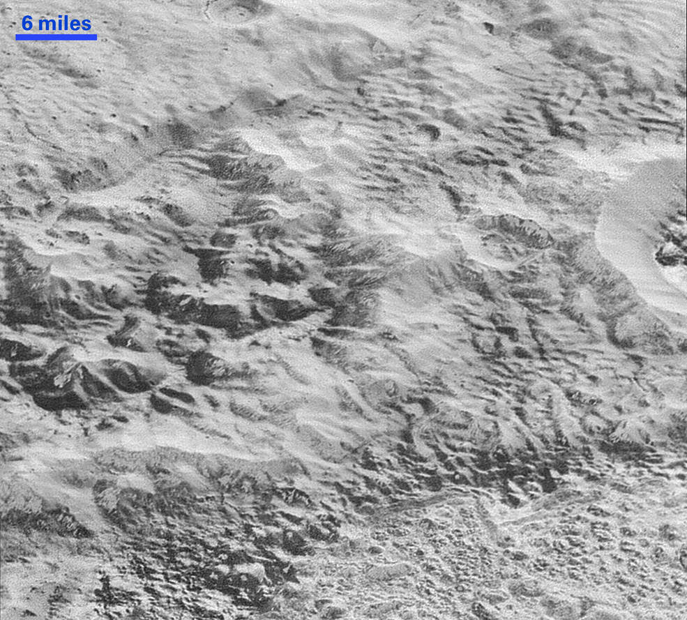 erosion and faulting have sculpted this portion of Pluto's icy crust