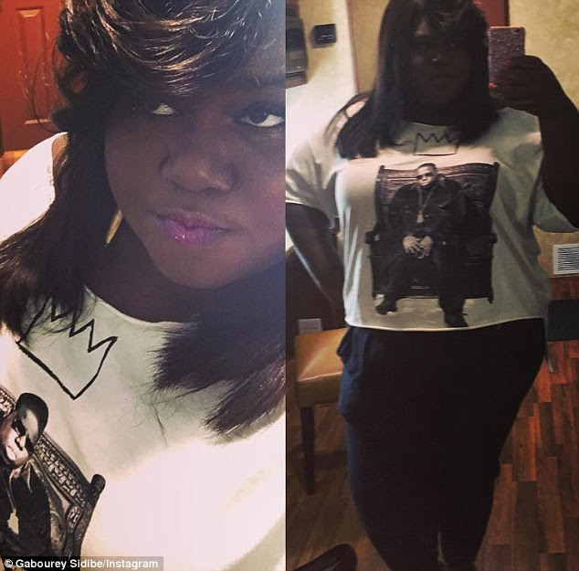 Slimmed down: Gabourey Sidibe, 33, unintentionally showed off her impressive weight loss when she posted an Instagram photo wearing a Biggie Smalls T-shirt