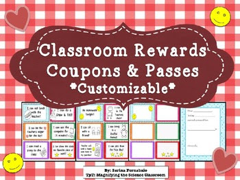 Classroom Rewards Coupons & Passes - editable! by Magnifying the ...