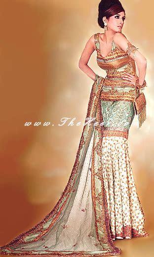 BW376 Copper Cream & Light Green Gharara Designer Mermaid