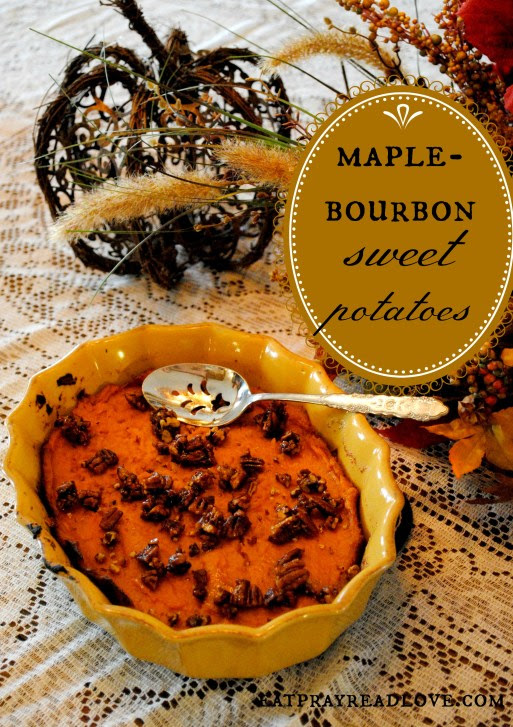 These Bourbon Maple Sweet Potatoes are sure to be a hit at your next dinner! Creamy potatoes with a crunchy pecan topping and just the right amount of sweetness!