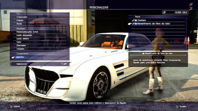 Final Fantasy XV: componentes raros podem ser acoplados ao veículo para torná-lo mais potente (Foto: Reprodução/Victor Teixeira)