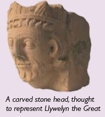 Llywelyn carved stone head
