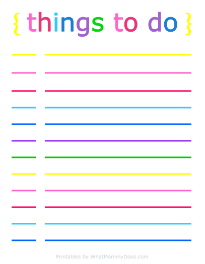 Colorful Printable Daily Checklist for Keeping Up With Stuff