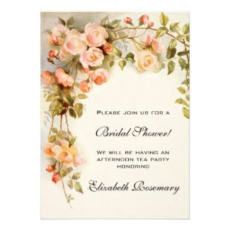 Vintage Bridal Shower Antique Roses Flowers Floral Personalized Announcements