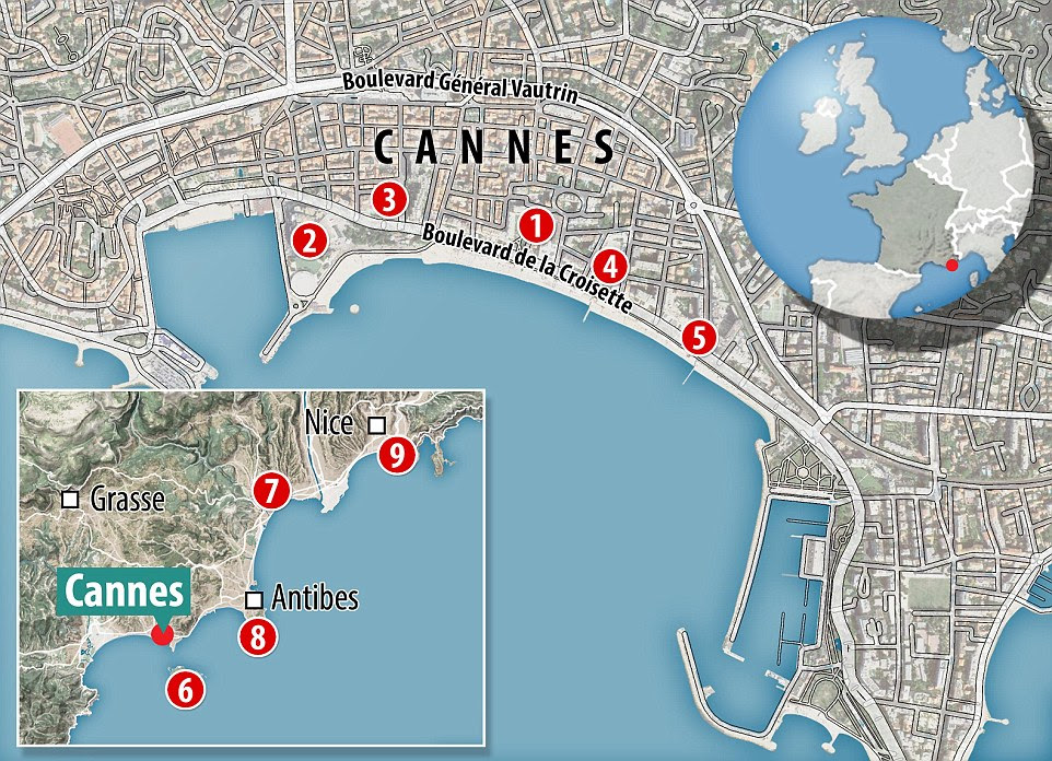 MailOnline Travel's top Cannes and the surrounds recommendations: 1. Grand Hotel 2. Martinez 3. Majestic Barriere 4. InterContinental Carlton Cannes 5.Le 72 Croisette 6. Saint-Honorat island 7. Grimaldi castle 8. Hotel du Cap Eden Roc 9. Le Plongeoir