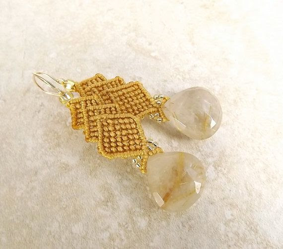 Macrame Earrings Dangle Earrings. Golden Rutilated by neferknots.