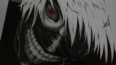 anime tokyo ghoul kaneki ken red eyes white hair fan
