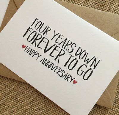 4TH WEDDING ANNIVERSARY Card, Four years down forever to