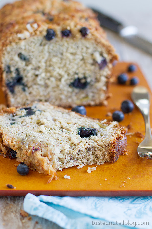 Blueberry Coconut Banana Bread | Taste and Tell