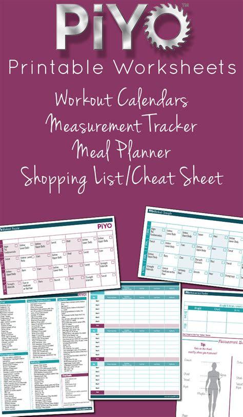 piyo printable worksheets strength training