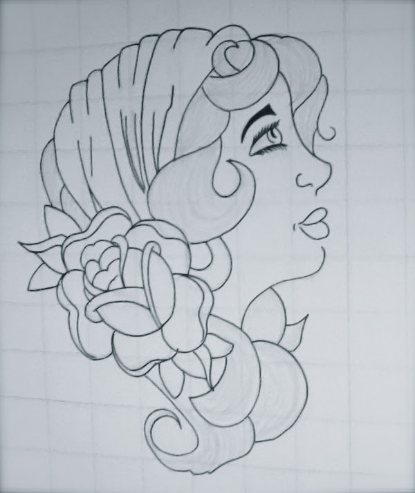 Traditional Flower And Gypsy Tattoo Design
