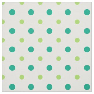 Spring Sunshine Green and White Polka Dots Fabric