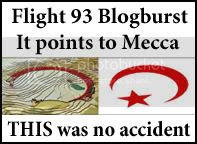 Flight 93 blogburst logo: It points to Mecca!