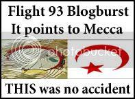 Flight 93 blogburst logo: It points to Mecca!