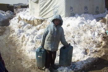 A child in an IDP camp in the outskirts of Kabul