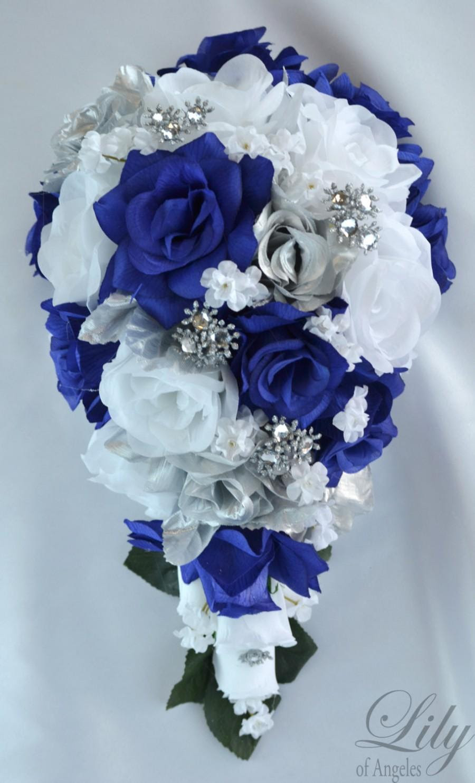 17 Piece Package Wedding Cascade Bouquet Bride Silk Flowers Bridal