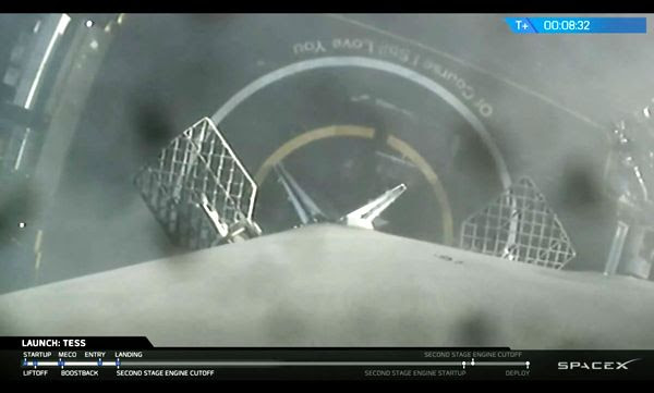 Landing legs are deployed on the Falcon 9's first stage booster after returning to Earth following the launch of NASA's TESS spacecraft on April 18, 2018...in this footage taken by an onboard camera.