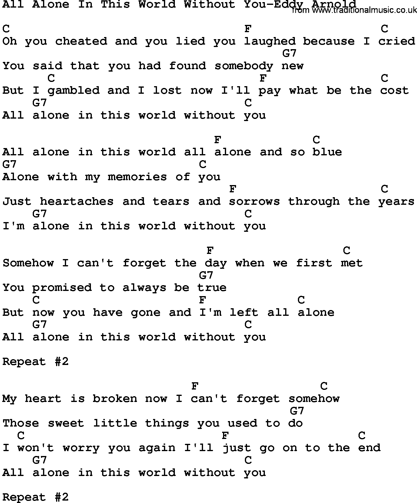 Country Musicall Alone In This World Without You Eddy Arnold Lyrics