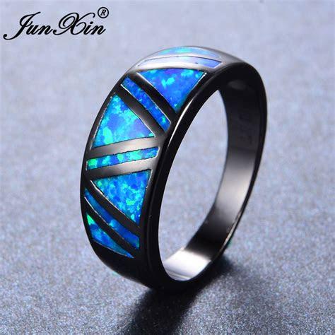 junxin male female blue fire opal ring vintage black gold