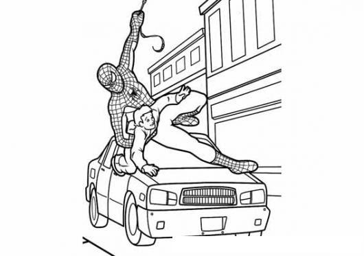 Dibujo De Hombre Arana Rescatando A Un Muchacho Para Pintar Y