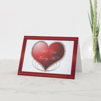 Red Satin Border Will You Marry Me Card card