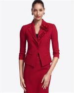 White House Black Market Red Crepe Jacket