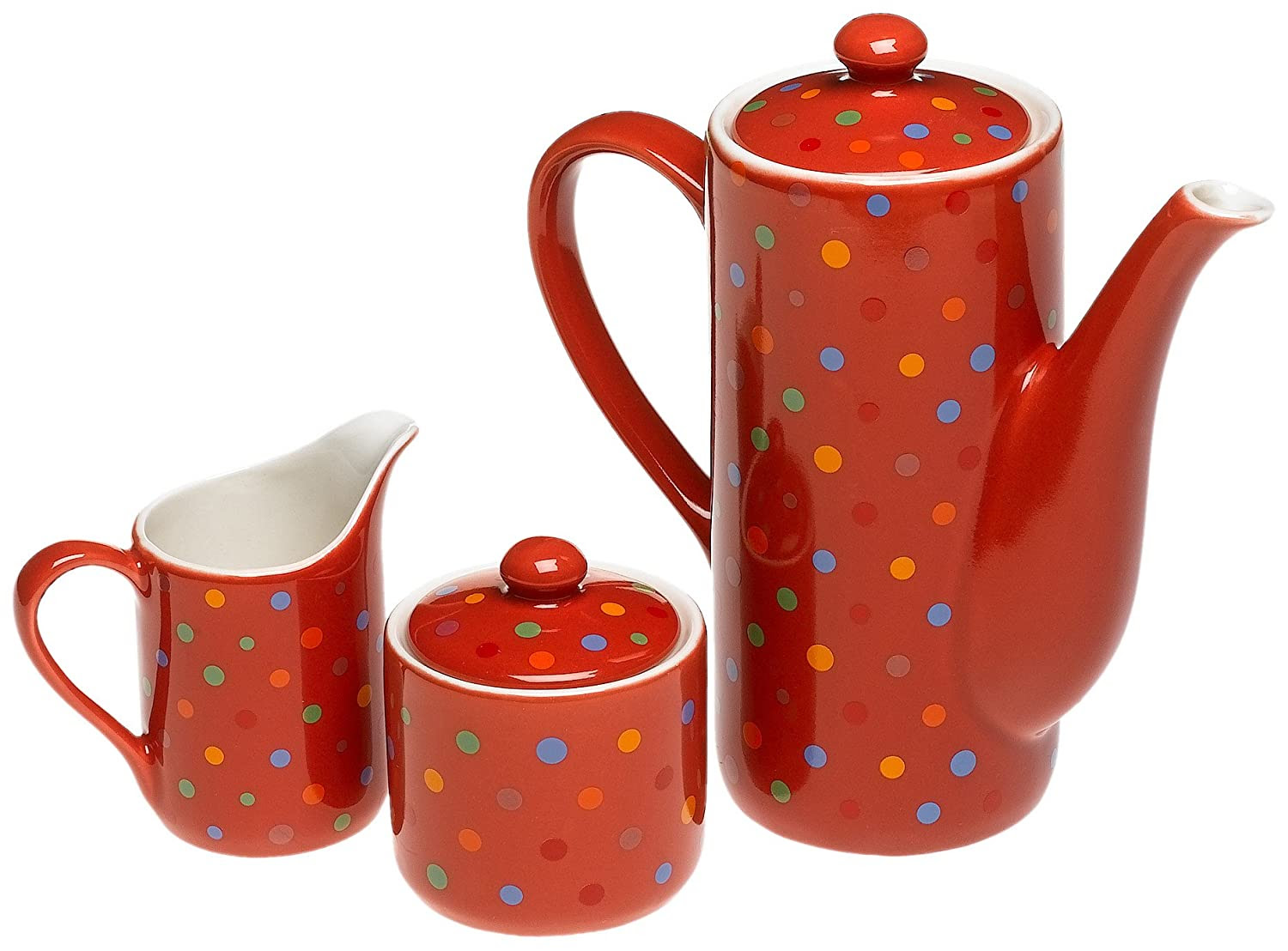 Yedi Houseware Classic Coffee and Tea Polka Dot Teapot, Sugar and Creamer Set | Yedi Houseware