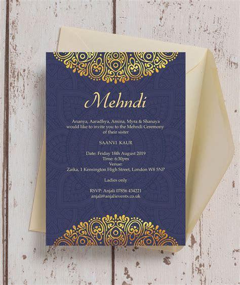 Navy Blue & Gold Mehndi / Baraat Card from £1.00 each