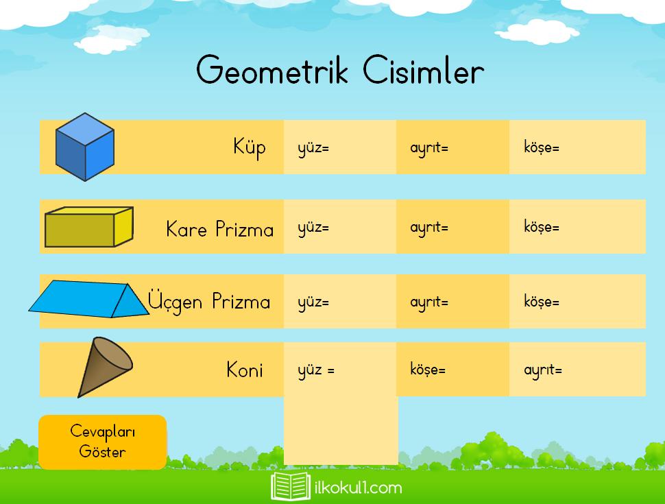 Geometrik Cisimler Sunusu Sınıf öğretmenleri Için ücretsiz özgün
