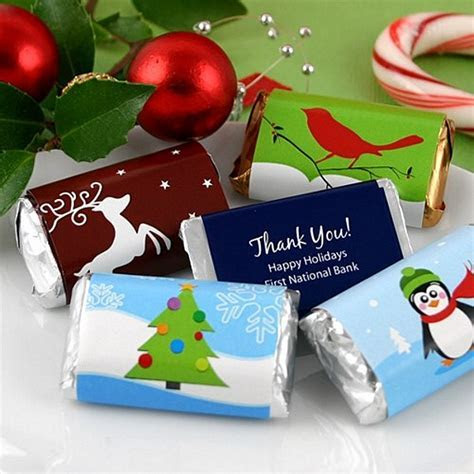 Personalized Winter Holiday Miniature Candy Bar Wrappers
