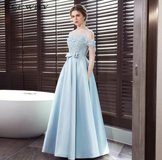Best Price CEEWHY Open Back Light Blue A line Long Evening Dress Lace Satin Evening  Gown Formal Dress Abendkleider Vestido de Festa Longo 0070addc1662
