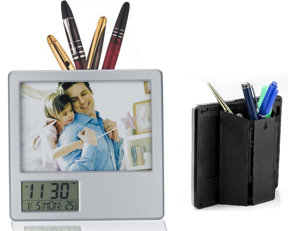 Desk Photo Frame With Digital Display Clock Pen Holder Photo