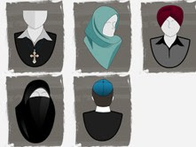 A diagram from the charter of Quebec values illustrating banned religious symbols for public employees. Photo: Screenshot / www.nosvaleurs.gouv.qc.ca.